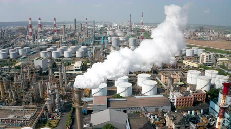 olej : Aerial view oil and gas petrochemical industrial and Refinery factory