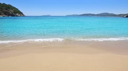 Ibiza Sant Vicent cove of Cala San Vicente beach san Juan at Balearic Islands of spain Stok Video