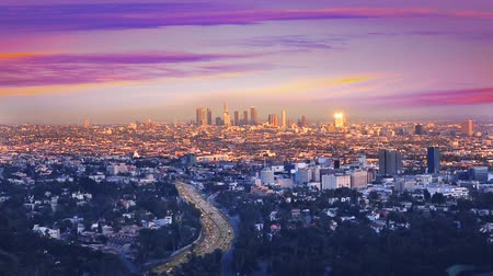 united states : Downtown LA night Los Angeles sunset skyline California from high view