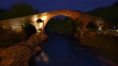 Cangas de Onis bridge in Asturias of Spain at night