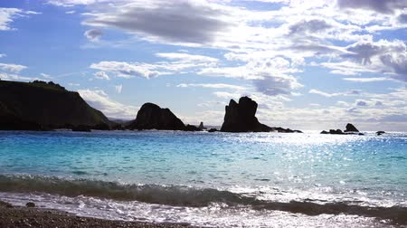 Silence beach silence beach in Asturias at Spain Stok Video