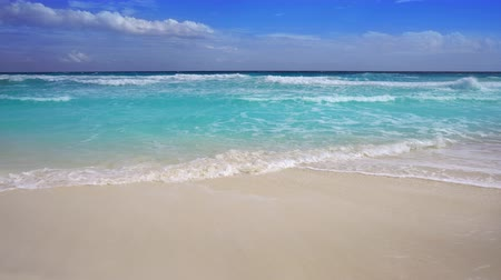 perfect weather : Tropical beach in Caribbean sea with turquoise aqua water