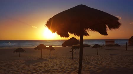 Cancun sunrise at Delfines Beach at Hotel Zone of Mexico Mayan Riviera