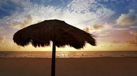 Mayan Riviera palapa sunroof beach sunrise in Caribbean sea of ??Mexico