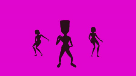 шестидесятые годы : Three cartoon females, disco dance 60s style. The background cycles through psychedelic colors. Fourth of four animations. A professionally produced 3D cartoon.