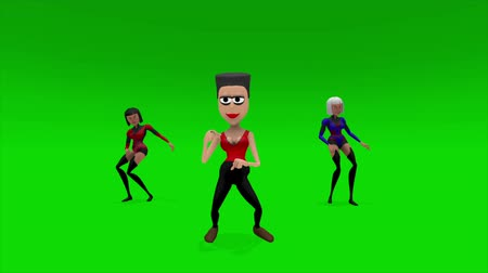 disko : Three cartoon females, disco dance 60s style. The original of four cartoons, with a green screen for easy removal. A professionally produced 3D cartoon animation.