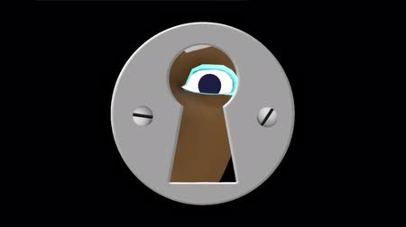 mistério : A dark skinned cartoon female peeks through a keyhole. Two identical clips. Clip 1 has an alpha channel, just drop in a background. Clip 2 has a green screen for easy removal.
