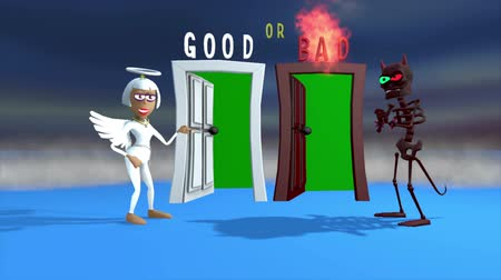 szatan : Two 3D cartoon characters, an Angel and a Demon, invite you to enter their respective doors, one good and the other bad. Doorways are green screened. A professionally produced 3D cartoon.
