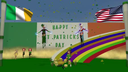 st patrick : Saint Patricks day 3D cartoon animation. This clip has a textured sky, there is a second clip with a black sky for you to add your own texture to.