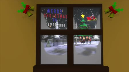 dal : A group of carol singers viewed through a frosty window on Christmas night. One of four variations, with and without the cross or the message board providing space for your personal message.