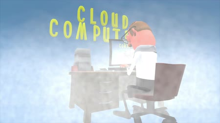 komputer stacjonarny : 3d Cartoon animation. Lopable but not seamless. A man works at his desk on a cloud. The camera pans from left to right and back again behind the subject . The computer screen displays into infinity.