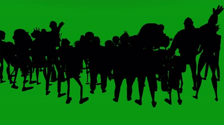 éljenzés : A view from behind a silhouette crowd of cartoon characters who are jumping, shouting and cheering. Has a green screen for easy removal. A 3D animated cartoon. Stock mozgókép