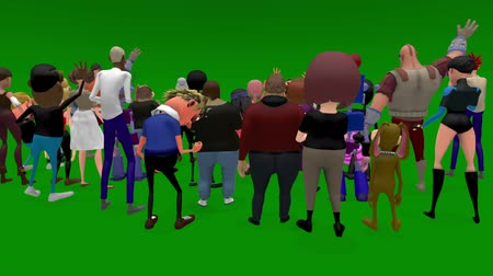 rock music : A view from behind a silhouette crowd of cartoon characters who are jumping, shouting and cheering. Has a green screen for easy removal. A 3D animated cartoon. Stock Footage