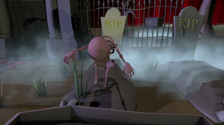 dynia : A Halloween skeleton rises from a grave and steps back into its coffin. A 3D cartoon animation.