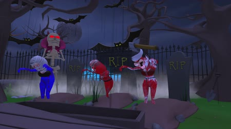 dia das bruxas : The Soul Reaper.  Satan comes to reap the souls of three women in a spooky graveyard at Halloween. They rise from the grave and realize they are dead and doomed. A 3D cartoon animation.