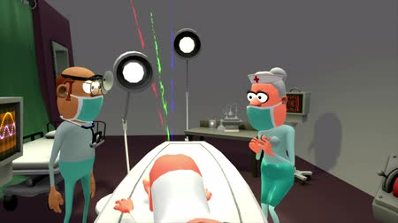 cirurgião : A surgeon and his nurse are baffled by their patients affliction. The sun seems to be shining from an unusual orifice. A little humour to enliven a presentation etc. A 3D animated cartoon.
