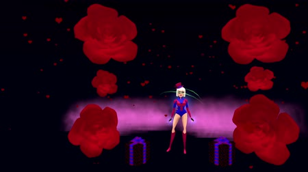 heart shaped : A beautiful SuperGirl flies between some red roses, lands and while it rains hearts she blows a kiss. Space on left for your own message. A 3D animated Cartoon. Stock Footage