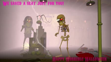 могила : In a dark dungeon, a evil skeleton and its assistant, invite you you sit in a chair. Text appears at the top left We saved a seat just for you, and a greeting appears at the bottom. A 3D cartoon animation. Стоковые видеозаписи