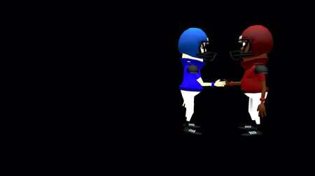 сотрясение : Funny American Football Players Shaking Hands - Two comical cartoon American football players, colors deep red and blue, talk and shake hands, then slowly turn towards the camera and and give friendly thumbs up. A 3D animation with alpha channel.