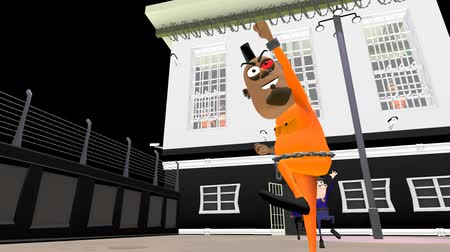escaping : Jail Break - An Animated 3D Cartoon.  The escaping villain runs towards the camera and stops briefly, His friends cheer from the top windows. Officers give chase, one stops and waves his fist in frustration, then returns to the building.