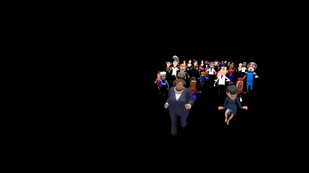 hiç kimse : Two Leaders Running With People Following -  Two female business leaders are running towards the camera. A large crowd of very diverse people are following them. A looping 3D animated cartoon. Stok Video