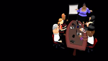parecer : An Enthusiastic Office Presentation .  A 3D Cartoon Animation. A lady gives an enthusiastic office presentation to a racially mixed audience. They seem just as enthusiastic cheering and clapping as she speaks. Looped with alpha channel