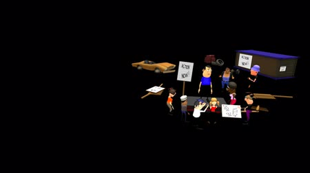 dismay : It seems the demonstrators were unsuccessful in their demands. Surrounded by debris, a speaker delivers the bad news. The demonstrators hang their heads in dismay. Animated 3D cartoon - Alpha channel.