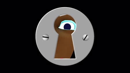 eyes closed : A Dark Girl Through A Keyhole - A girl with dark skin and blue eyes, peeks through a keyhole. She moves around trying to see whats on the inside. A seamlessly looping 3D cartoon animation with alpha channel. Stock Footage