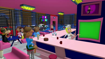 országúti : USA Style Diner 3d Cartoon.  USA Style 3D cartoon diner busy with customers and activity in the streets outside. The waitress is showing a female customer a framed green screen which could be a monitor or a menu chalk board.