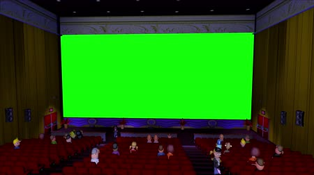 экран : 3d Cartoon Cinema With Green Screen.  A 1950s style cartoon cinema viewed from the projector room. The cinema screen is green for your own movie. Two usherettes patrol the isle while a small audience watches your movie. Scene is loopable from start to end