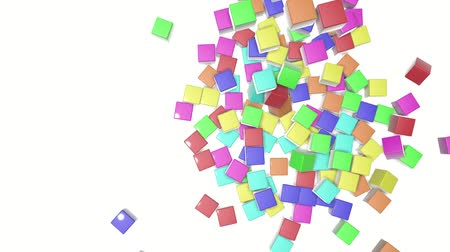screen saver : Multi-colored cubes fall on a white background. animated. 3d render