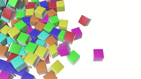 elasticità : Multi-colored cubes fall on a white background. animated. 3d render