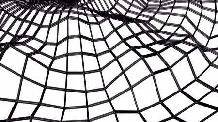 mesh : black abstraction three-dimensional mesh slowly deformed on a white background. animated. 3d render