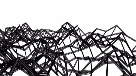 narożnik : black abstraction three-dimensional mesh slowly deformed on a white background. animated. 3d render