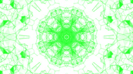 köşeler : green kaleidoscope patterns. animated abstract. 3d render Stok Video