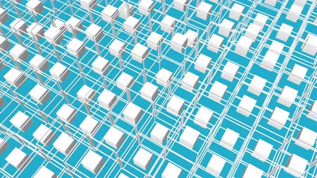 beyazlar : white cubes surrounded by a frame slowly moving on a turquoise background. 3d render
