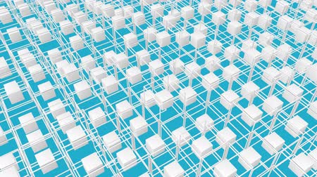 dikdörtgenler : white cubes surrounded by a frame slowly moving on a turquoise background. 3d render
