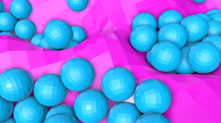 obturador : bunch of turquoise three-dimensional spheres slowly moving. 3d render Archivo de Video