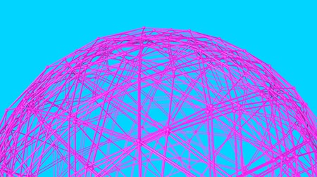 oco : purple sphere frame slowly rotates on a turquoise. 3d render