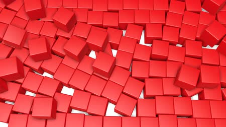 three dimensional : reds cubes scattering. 3d render