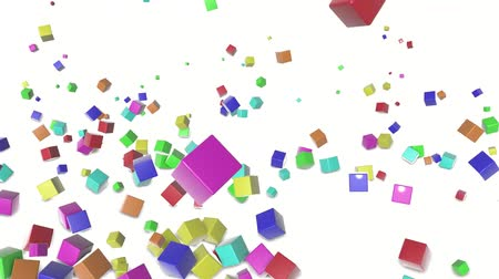 multicolorido : colored cubes scattering on a white. 3d render