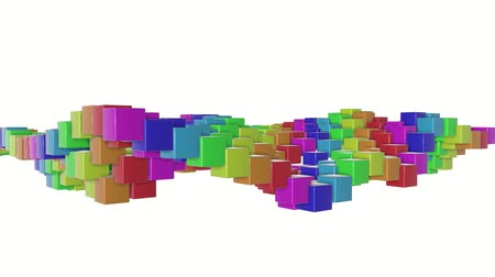 screen saver : multicolored three-dimensional cubes slowly fly. abstract animation. 3d rendering Stock Footage