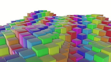 multicolorido : multicolored three-dimensional cubes slowly fly. abstract animation. 3d rendering Vídeos