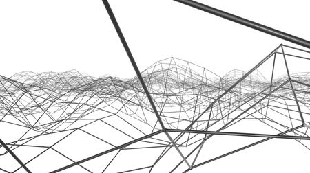 mesh : black three-dimensional mesh is slowly deformed on a white background. abstract. 3d rendering Stock Footage