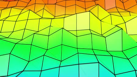screen saver : rainbow low poly plane is slowly deformed. abstract. 3d rendering