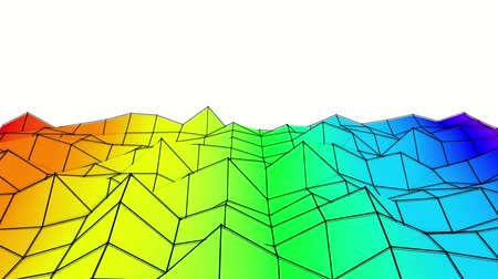 abstrakcja : rainbow low poly plane is slowly deformed. abstract. 3d rendering