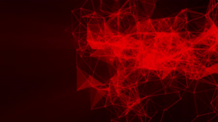 facets : red particles and triangles fly slowly against a black. 3d rendering Stock Footage