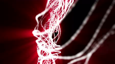 Red light emitting particles slowly moving against a black background. looped animation. 3d rendering