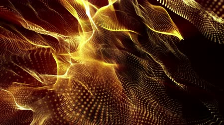 orange : animated looped background of glowing particles. 3d render Stock Footage