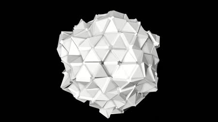 screen saver : Abstract white low poly shape slowly. 3d rendering.
